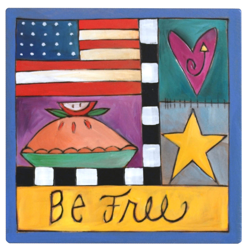 """Be free"" Americana themed crazy quilt motif"