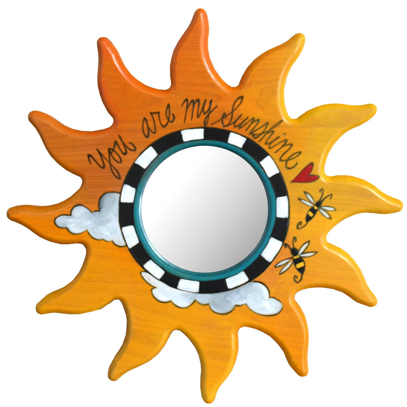 "Sun Shaped Mirror –  ""You are my Sunshine"" sun-shaped mirror with bees and clouds motif"