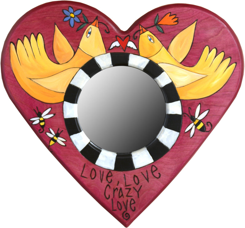 "Heart Shaped Mirror –  ""Love, Love, Crazy Love"" heart-shaped mirror with love birds motif"