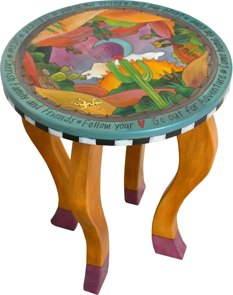 Round End Table –  Lovely southwest themed end table with rolling desert landscape, sun, moon and cacti