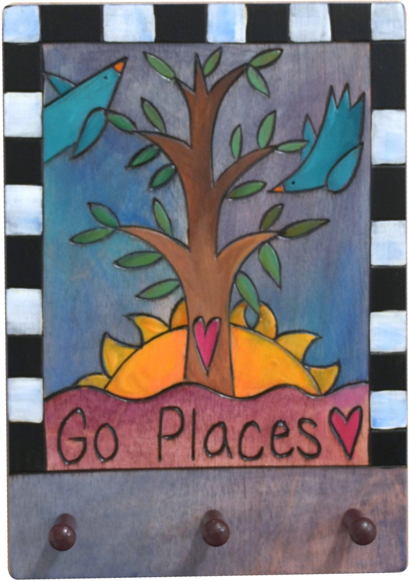 "Vertical Key Ring Plaque –  ""Go Places,"" key ring plaque with birds, sunrise and tree of life"