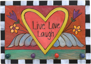 "Horizontal Key Ring Plaque –  ""Live, Love, Laugh,"" Heart with wings and flowers key ring plaque"