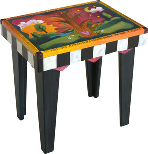 Rectangular End Table –  Beautiful tree of life end table with sun and moon motif and black and white block checks