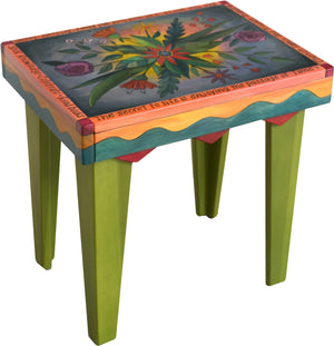Rectangular End Table –  Lovely colorful end table with floral motif