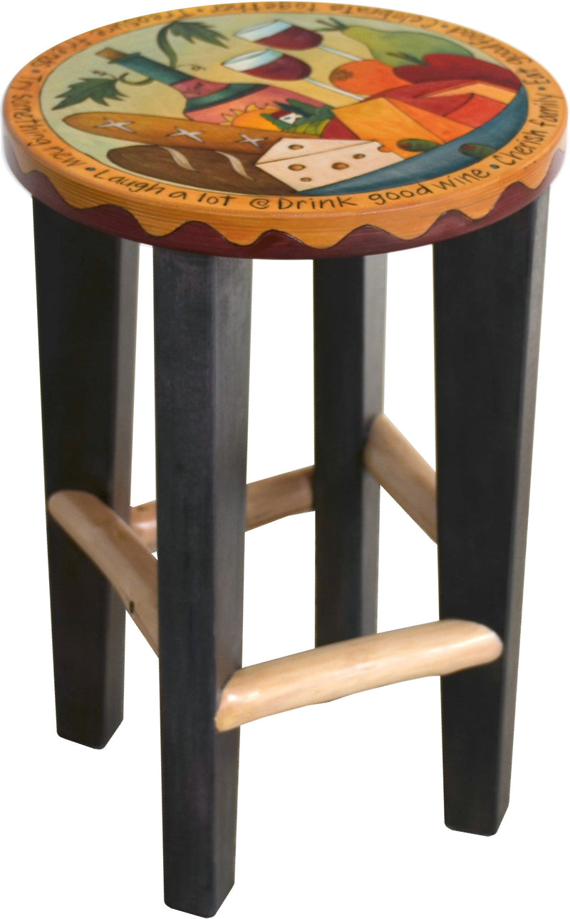 Round Stool –  Handsome stool with banquet themes and festive imagery