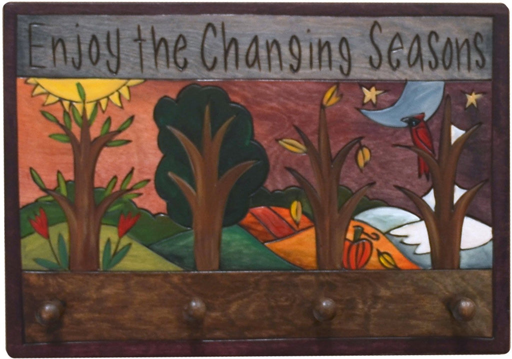 "Horizontal Key Ring Plaque –  ""Enjoy the Changing Seasons"" key ring plaque with rolling four seasons landscape"