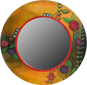 Large Circle Mirror –  Large round mirror with floral motifs and rich hues