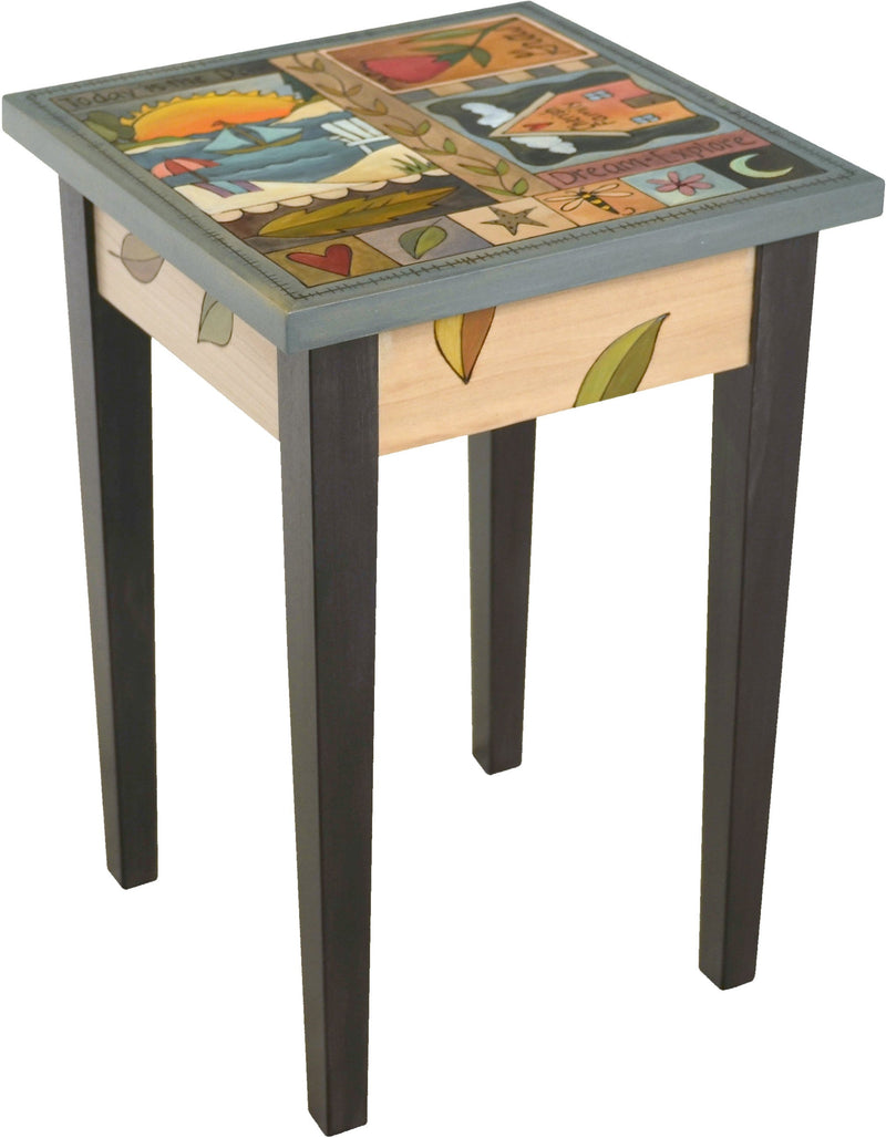 Small Square End Table –  Lovely end table with beach theme and colorful block icons