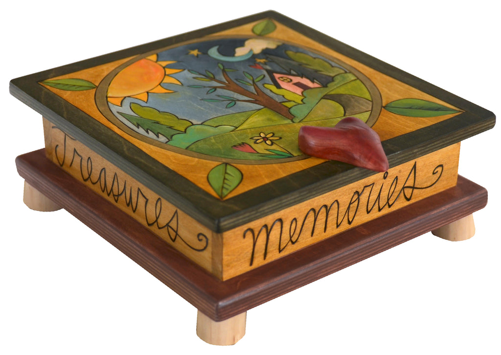 Keepsake Box – Encircled peaceful landscape with tree of life and home motif on this box's lid