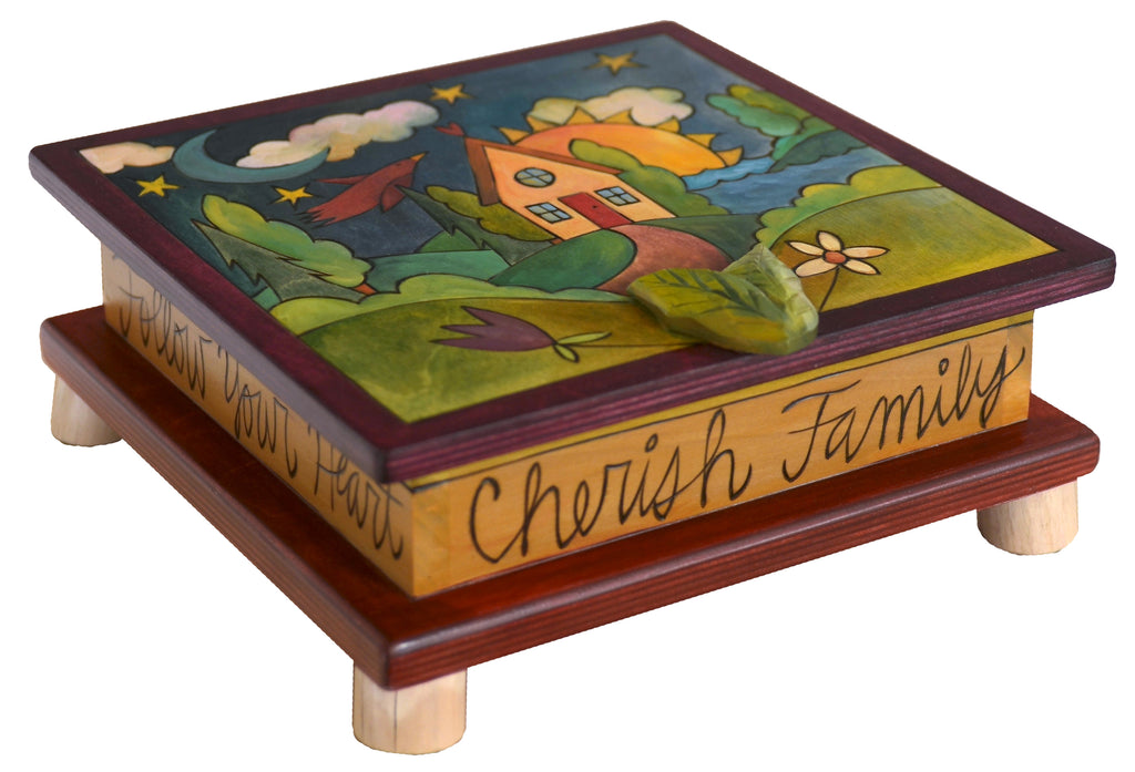 "Keepsake Box – Lovely landscape with home in front of a lake design and ""my stuff"" inscribed inside the lid"