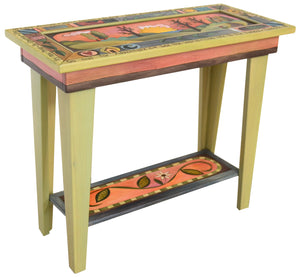 Sticks handmade sofa table with rolling landscape and colorful life icons