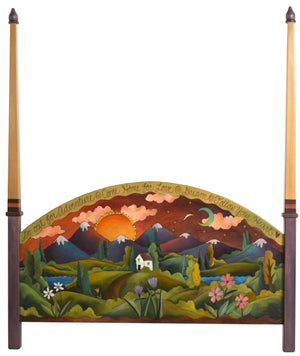 "Queen Bed with Posts –  ""Explore Nature/Smell the Flowers"" queen bed with posts with warm sunset over the beautiful mountain range motif"