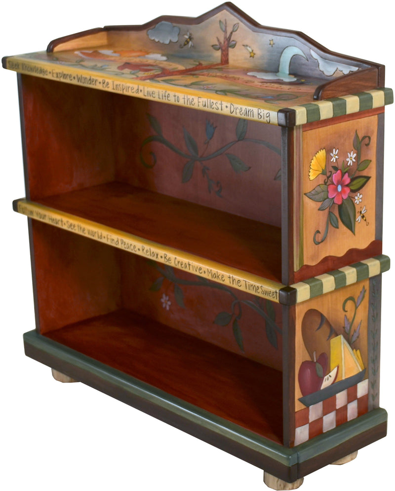 "Short Bookcase –  ""There are so Many Reasons to Read"" bookcase with sun and moon behind the tree of life motif"