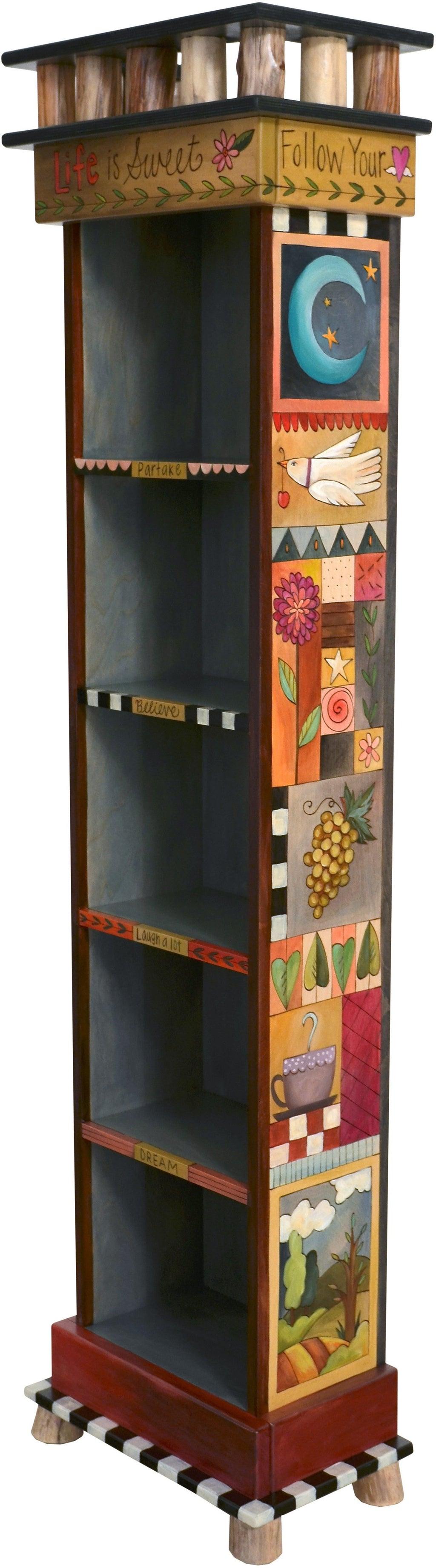 Tall Bookcase –  Handsome tall bookcase with dark interior and colorful block icons on the exterior walls