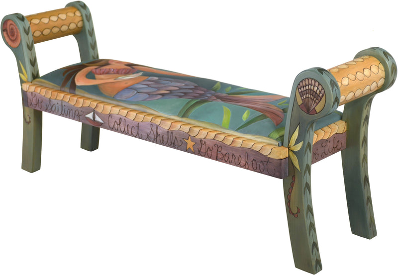 "Rolled Arm Bench with Leather Seat –  ""Collect Shells"" rolled arm bench with leather seat with mermaid motif"