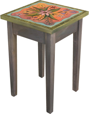 Small Square End Table –  Elegant square end table with lovely floral motif and inspirational phrases around the border