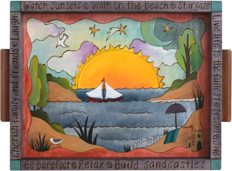 Small Rectangular Tray –  Lovely coastal and beach themed tray with sunrise landscape