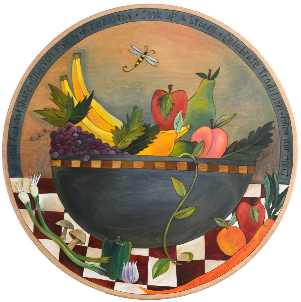 "Sticks Handmade 28""D lazy susan with fruit bowl and vegetables"