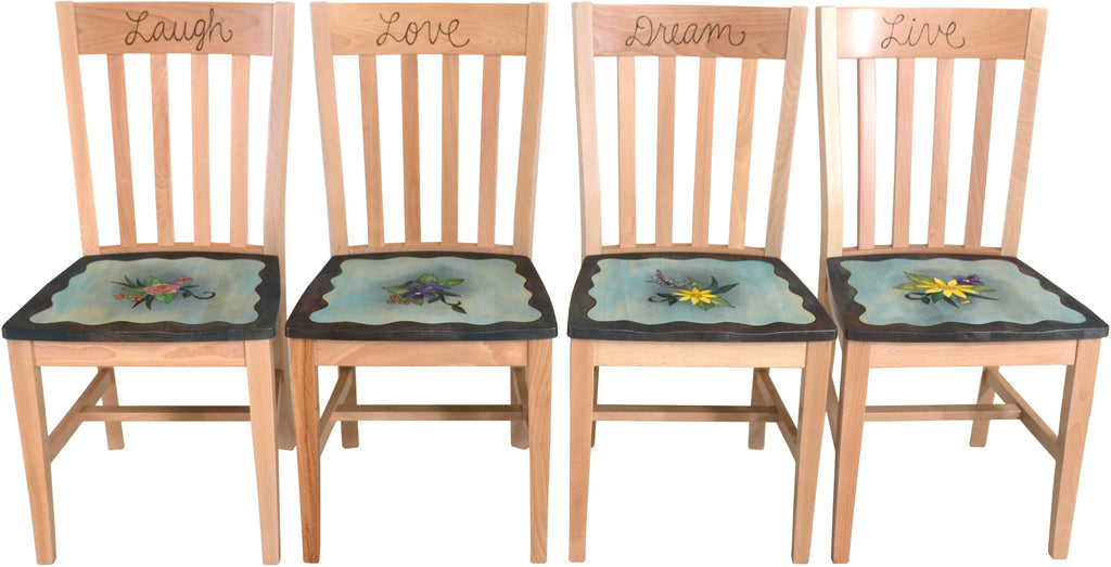 "Pops Chair Set –  ""Laugh/Love/Dream/Live"" chair set with floral motif on pale blue background"