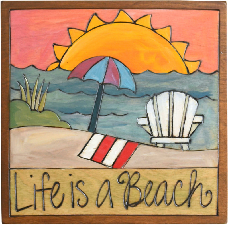 "7""x7"" Plaque –  ""Life is a beach"" relaxing shoreline motif"