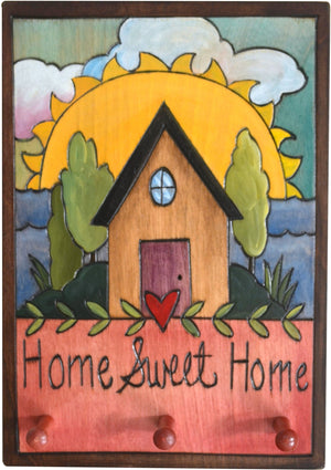 "Vertical Key Ring Plaque –  ""Home Sweet Home,"" key ring plaque with heart home by the beach and a sunrise"