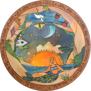 "Sticks Handmade 20""D lazy susan with beaches, mermaid and ocean views"