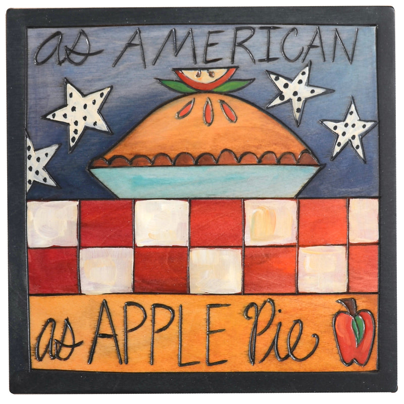 """As American as apple pie"" plaque with a pie in a red white and blue setting"