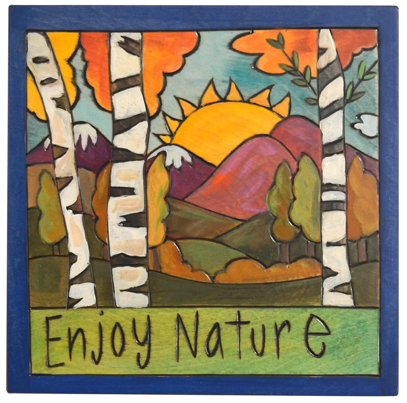"Sticks handmade wall plaque with ""Enjoy Nature"" quote, birch trees and mountain landscape"
