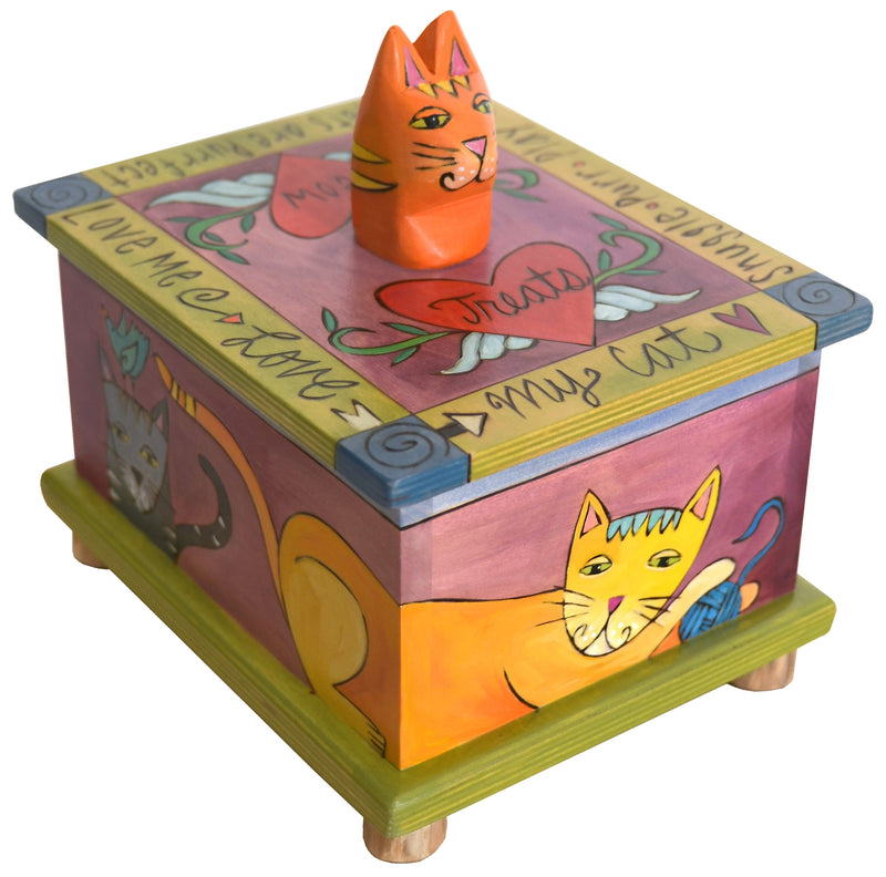 "Pet Treat Box – Vibrant ""love me love my cat"" treat box with adorable hand-carved cat handle"
