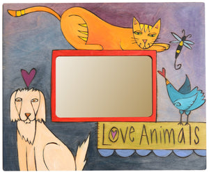 "Sticks handmade picture frame with ""Love Animals"" theme"