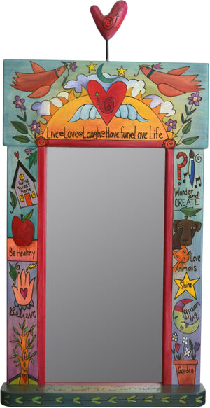 "Large Mirror –  ""Have Fun/Love Life"" mirror with love birds and heart with wings motif"