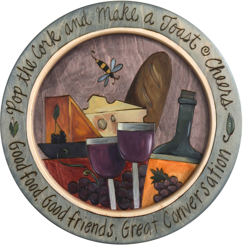 "16"" Round Tray –  Pop the Cork and Make a Toast round tray with wine and cheese motif"