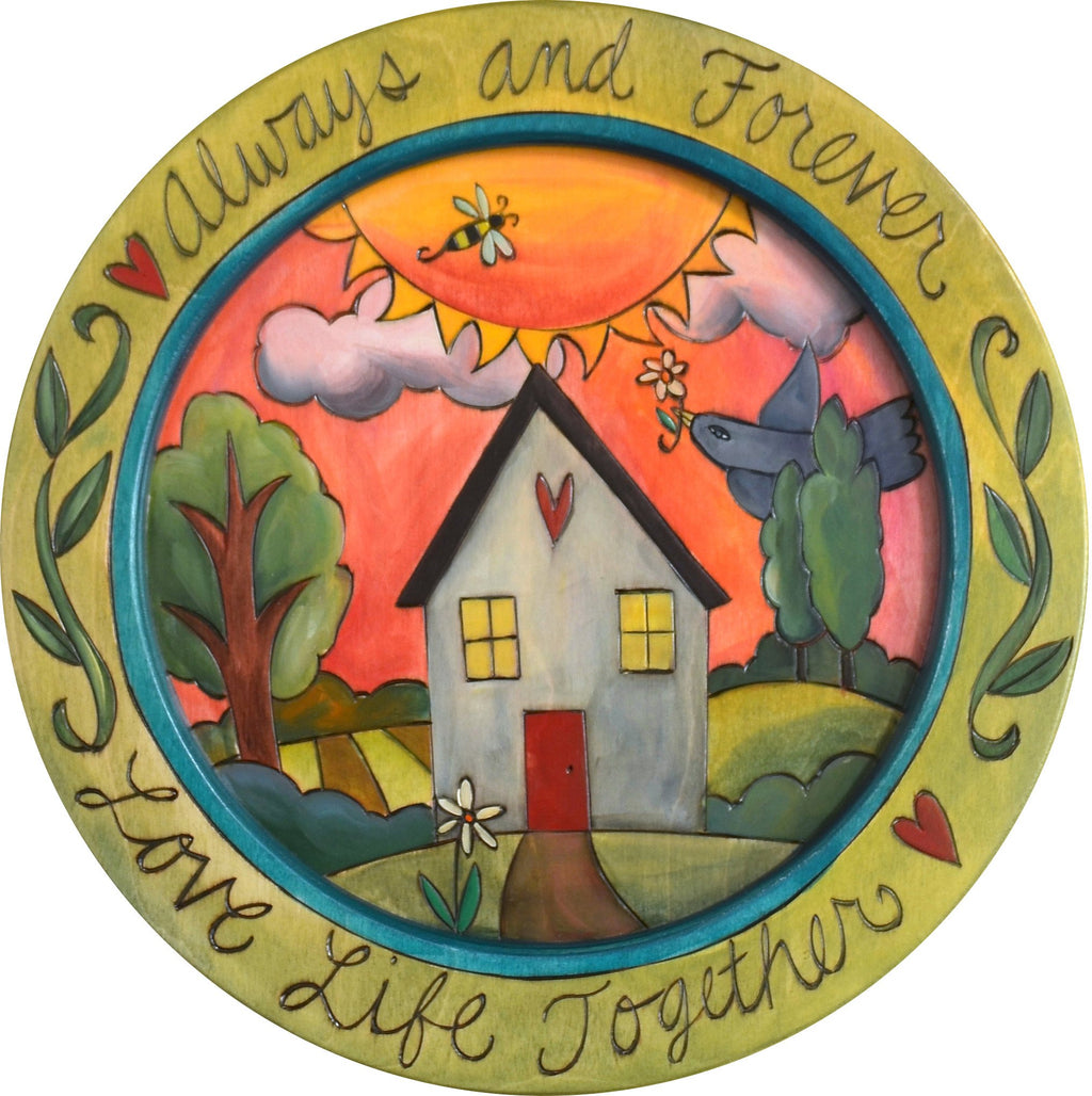 "16"" Round Tray –  Love Life Together round tray with sun and home motif"