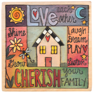 "Sticks handmade wall plaque with ""Love and Cherish"" quotes and colorful imagery"