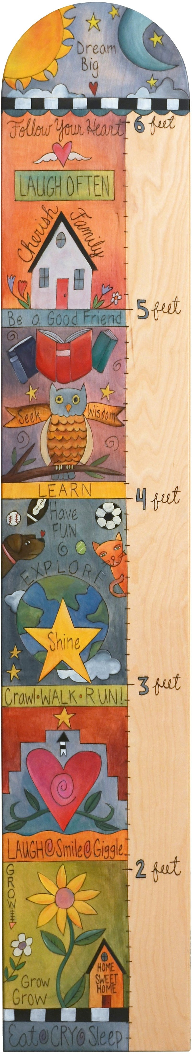 Everlasting Growth Chart –  Colorful growth chart with inspirational scenes and sun and moon at the top