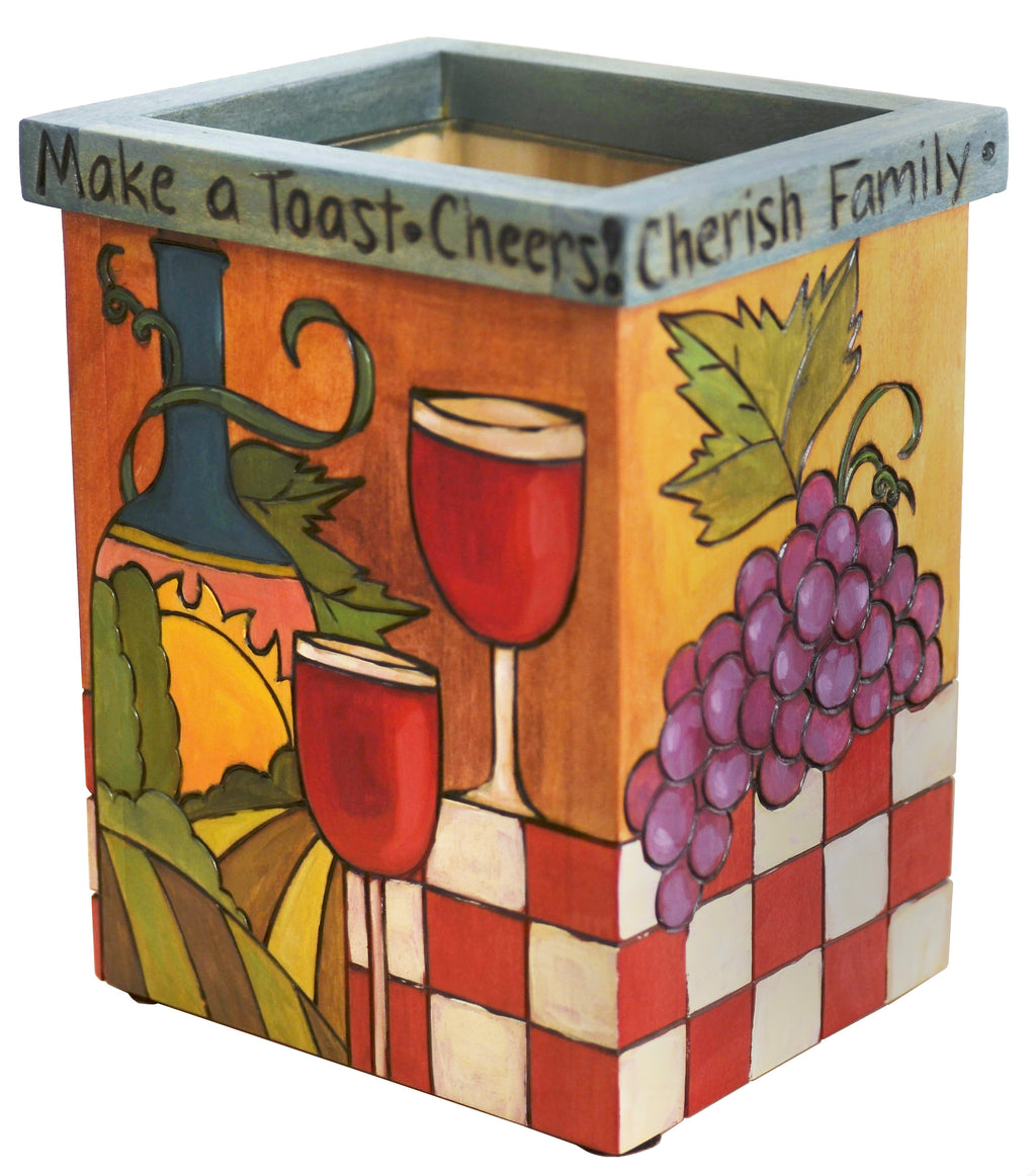 "Vase/Utensil Box – ""Make a toast, cheers!"" vase box with wine, fruit, bread and cheese imagery"