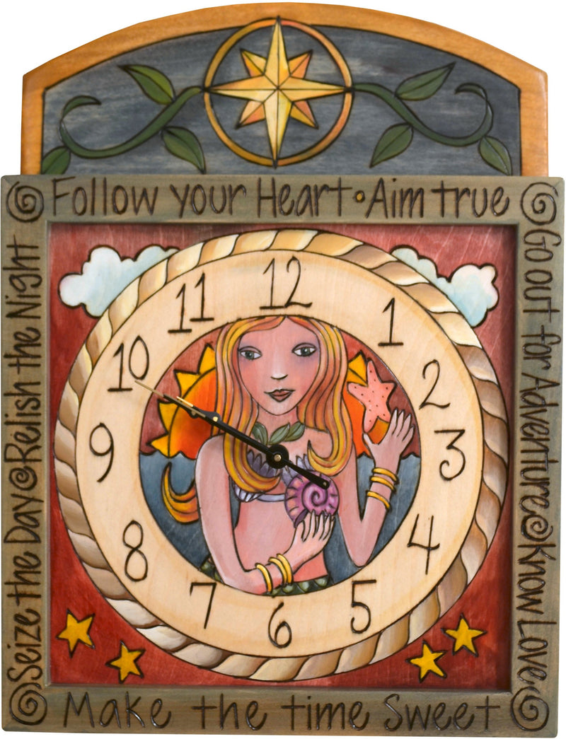 "Square Wall Clock –  ""Follow your Heart"" wall clock with happy mermaid motif"