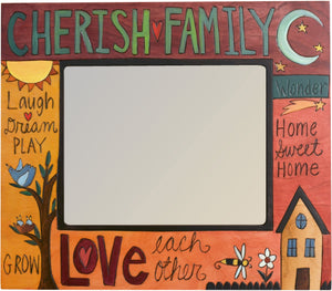 "8""x10"" Frame –  ""Cherish Family"" and ""Love"" picture frame in rosy gold and magenta hues"