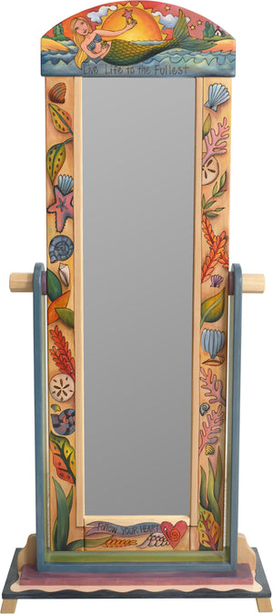 "Wardrobe Mirror on Stand –  ""Live Life to the Fullest"" mirror on stand with mermaid and seashells motif"