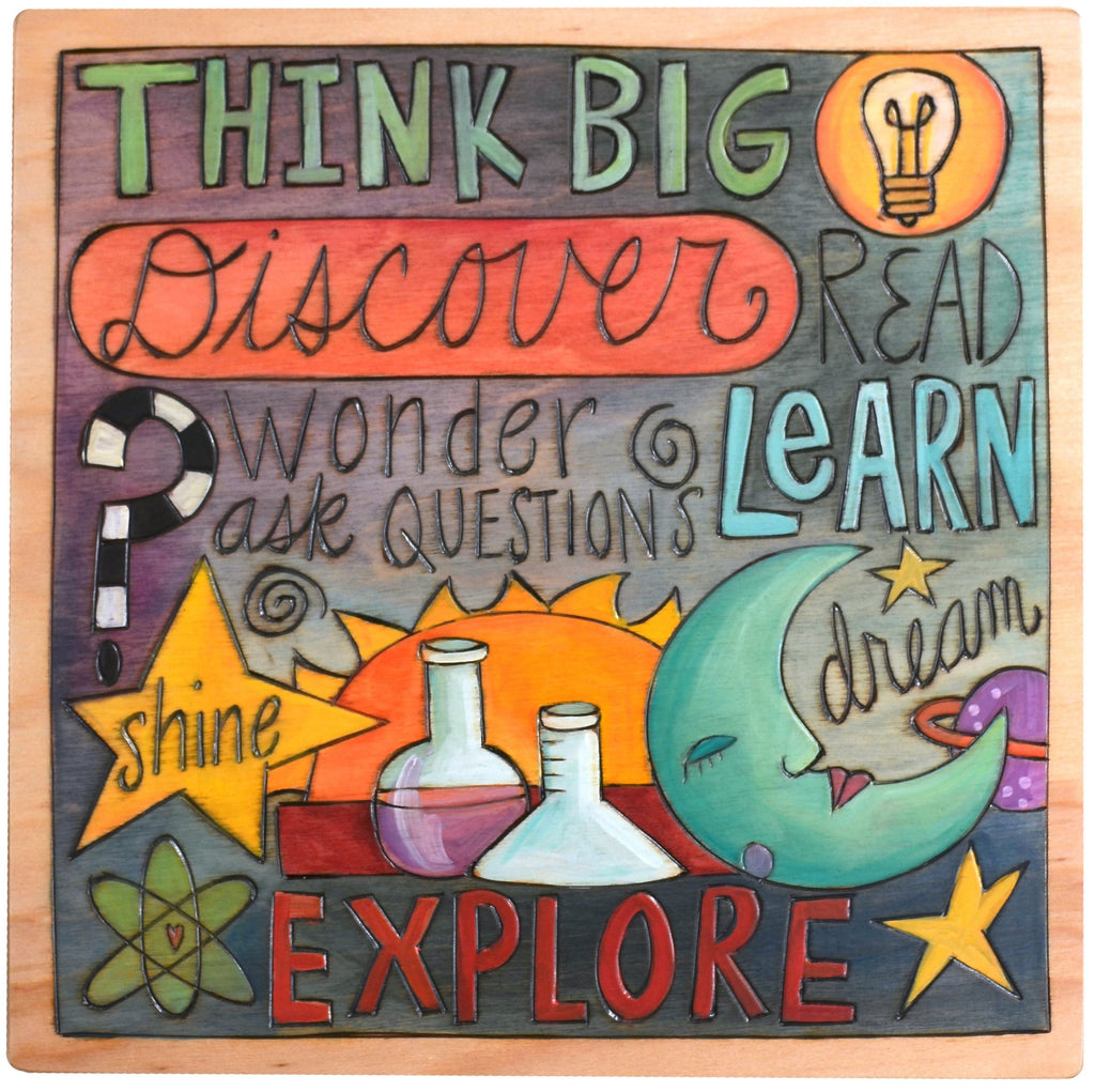 "Sticks handmade wall plaque with ""Think Big, Discover and Explore"" quotes and scholastic imagery"