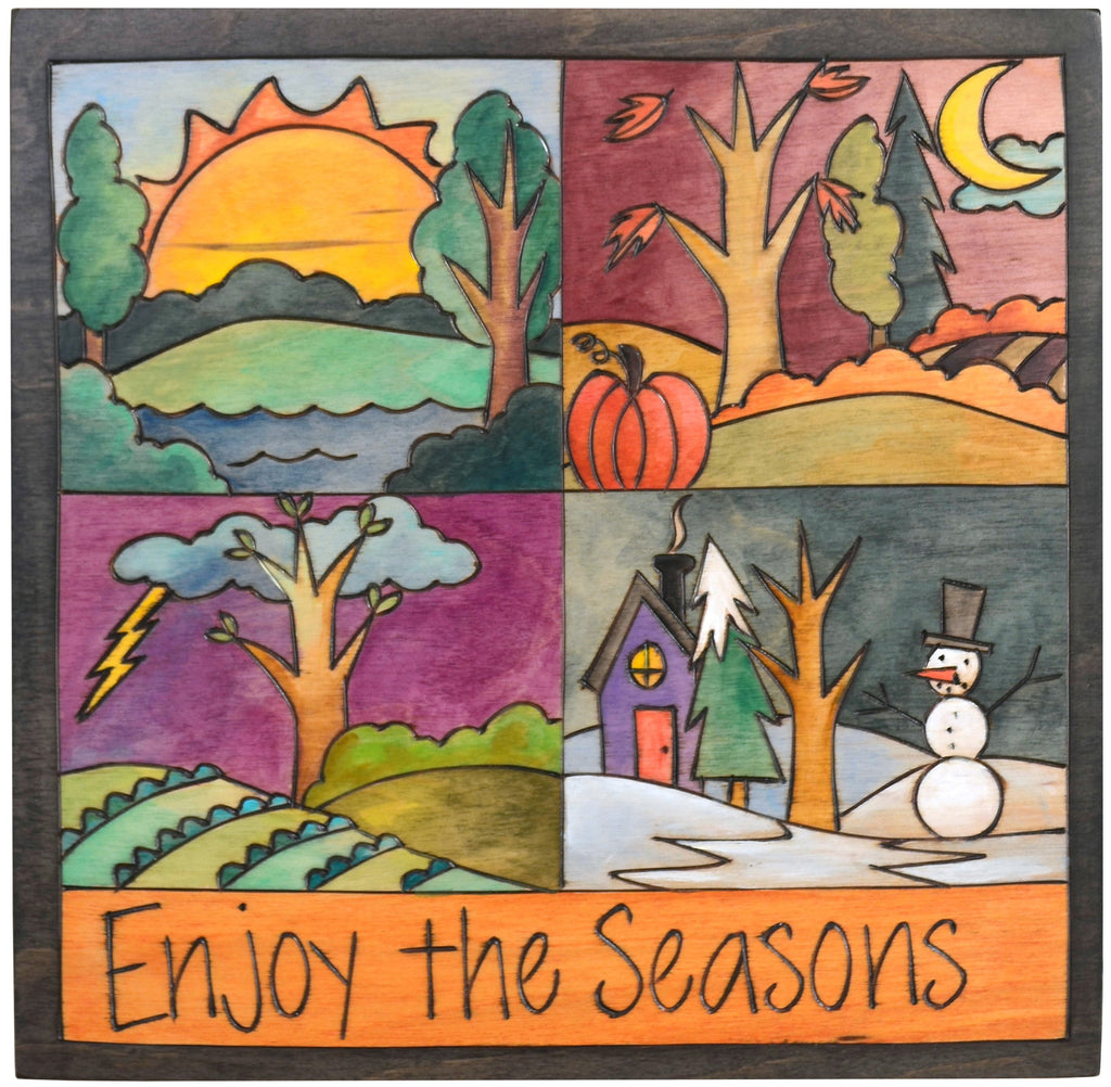 "Sticks handmade wall plaque with ""Enjoy the Seasons"" quote and four seasons landscapes"