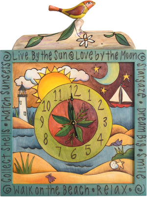 Square Wall Clock –  Lovely beach and coastal themed wall clock with vine motifs