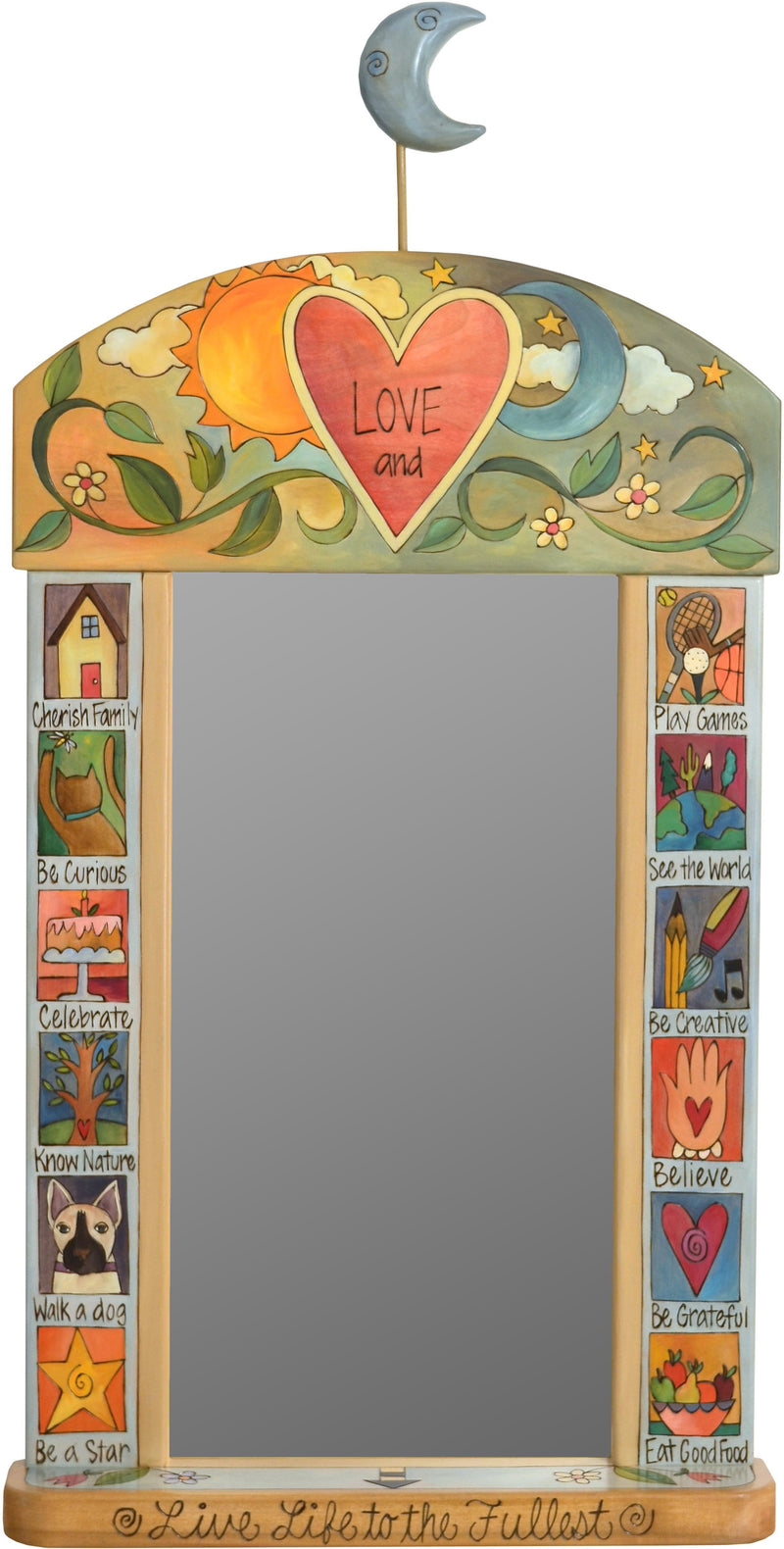 "Large Mirror –  ""Live Life to the Fullest"" mirror with sun, moon and heart motif"