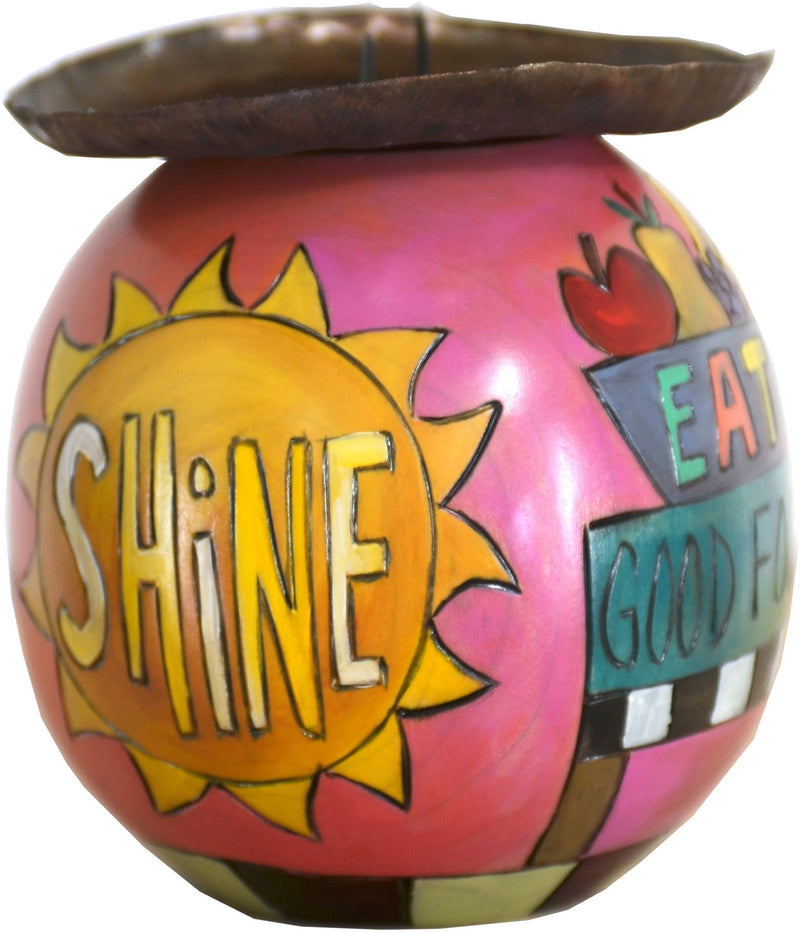 Ball Candle Holder –  Vibrant and colorful candle base with inspirational messages