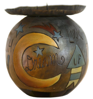 Ball Candle Holder –  Golden sun and moon motif candle holder with inspirational messages