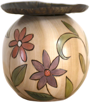 Ball Candle Holder –  Neutral color palette candle holder with floral motifs