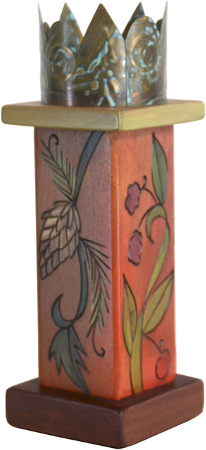 Small Pillar Candle Holder –  Lovely warm fall foliage candle holder with metal crown