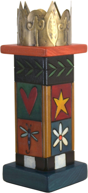 Small Pillar Candle Holder –  Elegant candle holder with colorful block icons and unique stamped metal element