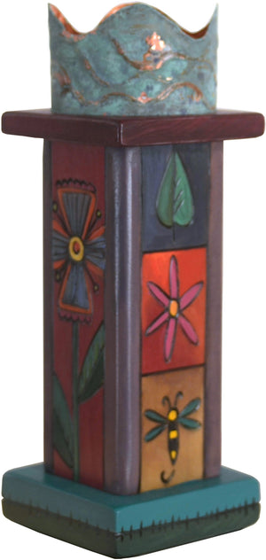 Small Pillar Candle Holder –  Elegant candle holder with floral motifs and colorful block icons