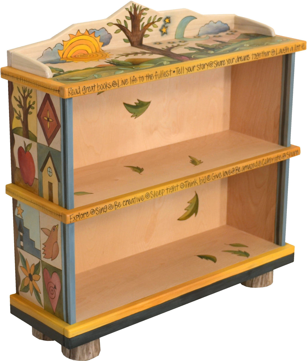 Short Bookcase –  Elegant and neutral bookcase with tree of life motif and colorful block icons
